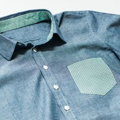 Blue chambray with green gingham accent details