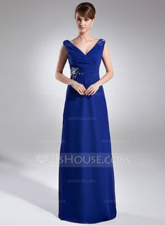 A-Line/Princess V-neck Floor-Length Chiffon Mother of the Bride Dress With Ruffle Beading (008015947) - JJsHouse