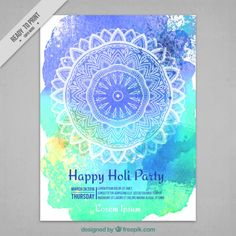 Watercolor Holi Party Flyer With Hand Drawn Mandala Holi Party, Party Flyer, Lorem Ipsum, Vector Free, Art Projects, How To Draw Hands, Outdoor Blanket, Posters, Watercolor