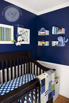 Baby nursery... I love the dark blue and white!!
