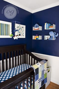 Baby nursery... I love the dark blue and white!!