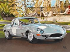 This is an acrylic painting of the Jaguar E Type Lightweight driven in the nineties by Stirling Moss and Win Percy, both used to race this spectacular Jaguar in invitational races and vintage races like Goodwood. Acrylics on canvas 60x80cm Jaguar E Type, Vintage Racing, Automobile, Car Painting, Stirling, Canvas, Acrylics, Paintings, Artist