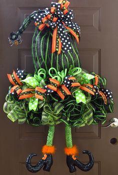 Halloween Deco Mesh Wreath Witch's Hat Deco by FestivalofWreaths, $120.00