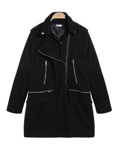 Sale 15% (54.04$) - Black Zipper Street Style Slim Fit Woolen Hooded Coat