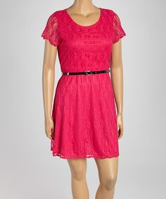 This Fuchsia Lace Belted Cap-Sleeve Dress - Plus by Star Vixen is perfect! #zulilyfinds