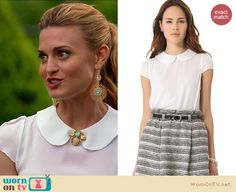 Paige's white peter pan collar top and bug brooch on Royal Pains.  Outfit details: http://wornontv.net/18021/