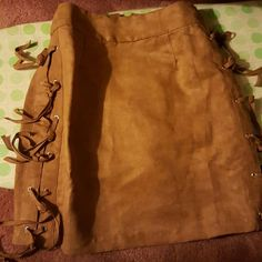 Never worn suede brown skirt Brown fringe suede Charlotte Russe Skirts Mini