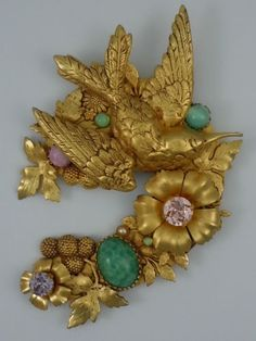 Askew London Large Curved Hummingbird and Flower Brooch