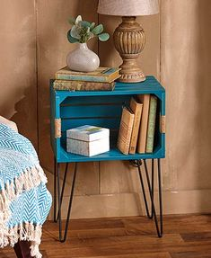 Rustic Wooden Crate End Tables - Wood Crates Shipping Wooden Crate End Table, Crate End Tables, Diy End Tables, Bedroom End Tables, Cheap End Tables, Furniture Makeover, Diy Furniture, Wooden Crate Furniture, Furniture Online