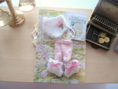dollhouse baby knitted pants socks booties by Rainbowminiatures