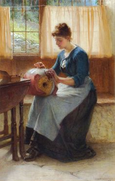 'The Lace Maker' by William Weatherhead RA (1843-c. 1903) - Watercolours from the Swan Gallery