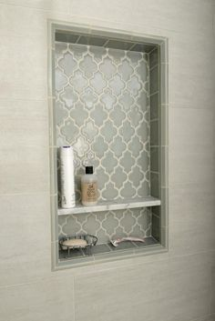 Smoke Arabesque Glass Tile 2019 {love this tile} Pretty shower niche using Smoke Glass Arabesque tile.subwaytileout The post Smoke Arabesque Glass Tile 2019 appeared first on Shower Diy. Bad Inspiration, Bathroom Inspiration, Girl Bathroom Ideas, Creative Inspiration, Bathroom Renos, Bathroom Niche, Shower Bathroom, Bathroom Renovations, Glass Tile Shower