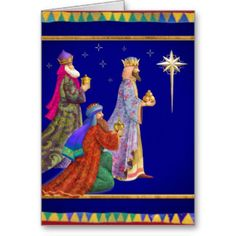 vintage christmas card of the three wise men | Three Wise Men Cards & More