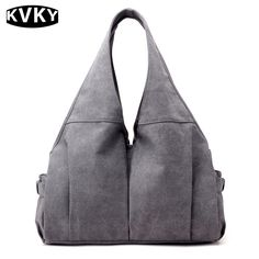 KVKY Youth Female Big Canvas  Ruched Bags Women Handbags Tote Large Capacity Shoulder Hobos Bag Hot Sale Laides  Crossbody Bags