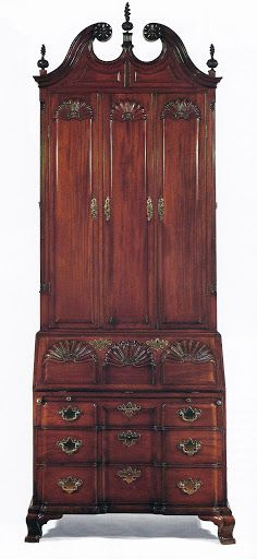 Chippendale mahogany block-and-shell-carved secretary, Goddard-Townsend, Newport, Rhode Island, c.1760-1770 (made for Nicholas Brown of Providence, Rhode Island).