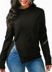 Very cute zipper embellished sweatshirt. Denim Top, Sweater Hoodie, Korean Fashion, Buy Cheap, Sweatshirts Online, Hooded Sweatshirts, Hoodies, Long Sleeve, Fashion Coat