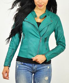 Look what I found on #zulily! Teal Faux Leather Motorcycle Jacket by Elegant #zulilyfinds