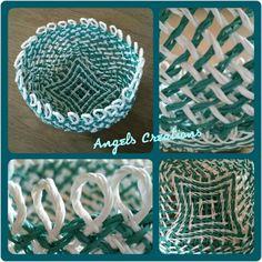 Ply-split-brading basket 'Loopy' met papiergaren, patroon van Linda Hendrickson.