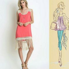 Not Just Another Fringe Dress The more fringe the merrier! We promise this dress is unlike any other that you've seen!  Gorgeous material in a sweet coral hue is a feminine contrast to the bold fringe trend!  Wear it with your Fav heels or flip flops for a day out shopping. Dresses