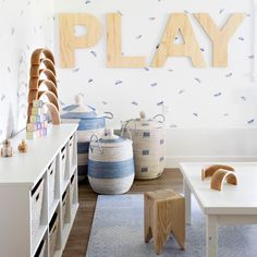 Modern playroom with neutral palette and pops of subtle bl… Playroom inspiration! Modern playroom with neutral palette and Modern Kids Rugs, Modern Playroom, Baby Playroom, Modern Basement, Playroom Design, Playroom Ideas, Children Playroom, Playroom Decor, Basement Ideas
