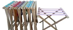 Useful wooden folding luggage racks, suitcase stands in teak with colourful striped webbing for guests luggage or as butlers tray stands UK Folding Wooden Stool, Wooden Stools, Teak Garden Furniture, Butler Tray, Web Colors, Free Fabric Swatches, Luxury Villa Rentals, Luggage Rack, Deck Chairs
