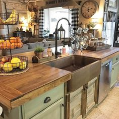Country kitchen island farmhouse kitchen decor and design ideas tugs at the heart as it lures Farmhouse Kitchen Curtains, Farmhouse Kitchen Cabinets, Primitive Kitchen, Farmhouse Style Kitchen, Kitchen Paint, Kitchen Countertops, Diy Kitchen, Kitchen Rustic, Kitchen Country