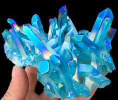 484g Light blue Quartz Crystal Titanium Coating Crystal Cluster Rainbows  A-250