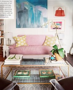 Pink couch via Lonny