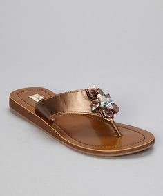 Take a look at this Dark Copper Shell Flower Thong Sandal by la pomme on #zulily today!