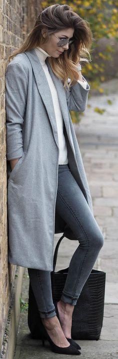 E J Style Gray Winter Coat Fall Street Style Inspo