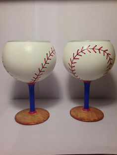 Hey Batter Batter Hand Painted Wine Glasses by TheLastPinkElephant, $40.00