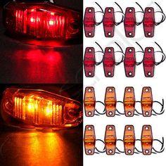 16 Amber/Red Clearance Amber Len LED Lamp 2Diode Trailer Truck Side Marker Light