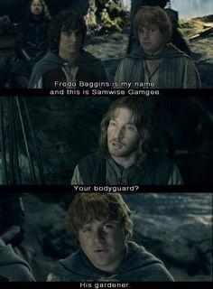 Frodo (Elijah Wood) and Sam (Sean Astin) are questioned by Faramir (David Wenham). (LOTR)
