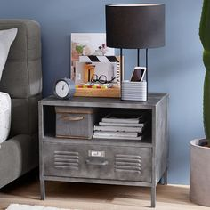 The right combination of industrial style and urban chic, our Locker Bedside Table is expertly crafted of galvanized metal to stand tough year after year. Metal Nightstand, Grey Furniture, Rustic Furniture, Locker Furniture, Industrial Bedroom Furniture, Unpainted Furniture, Urban Furniture, Outdoor Furniture, Farmhouse Furniture