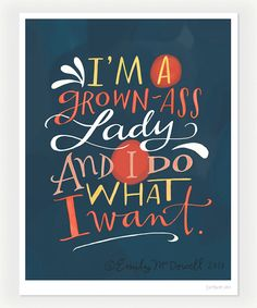 """GROWN-ASS LADY Inspirational Quote Print: 8""""x10"""" Wall Art Hand-Lettered Typography"""