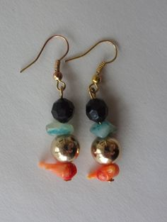 One of a Kind Turquoise & Orange Coral Earrings by LoewenDesigns, $13.00