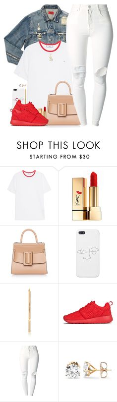 """""""Crimson❣"""" by oh-aurora ❤ liked on Polyvore featuring AMIRI, AMI, Yves Saint Laurent, Boyy, Dolce&Gabbana, NIKE and (+) PEOPLE"""