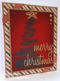 Made for Quick Cards Made Easy Magazine using Sizzix Tim Holtz Festive Scribbles & Holiday Words Dies.
