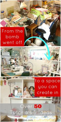 sewing room ideas and organization | PatchworkPosse #sewingroom #organize