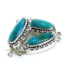 Elongated Teal Blue Turquoise Sterling Clasp from New World Gems