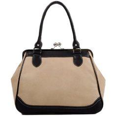 Amazon.com: MG Collection AUBREY Black / Beige Vintage Clasp Closure Doctor Style Handbag: Clothing