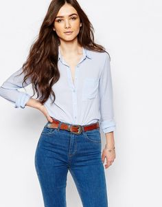 Pull&Bear - Chemise à manches longues - Bleu