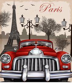 vintage car travel poster vector.- www.freedesignfile.com