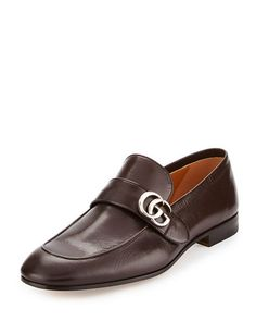 N46HJ Gucci Donnie Leather Loafer w/GG