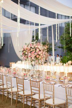 Romantic Thailand Destination Wedding Gallery - Style Me Pretty Elegant Wedding, Floral Wedding, Romantic Wedding Colors, Floral Centerpieces, Centerpiece Ideas, Blush Pink Weddings, Wedding Decorations, Romantic Wedding Centerpieces, Wedding Colors