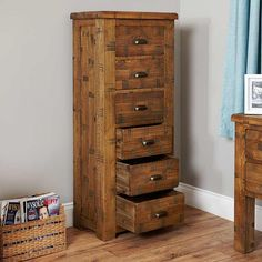 Heyford Rough Sawn Oak Tallboy Cabinet (6 Drawer) -  - Chest Of Drawers - baumhaus - Space & Shape - 2