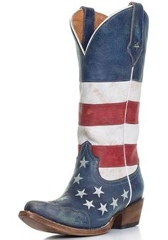 Roper American Flag Snip Toe Cowboy Boots - Distressed Red, White and Blue. Blue Cowboy Boots, Cowboy Boots Women, Western Boots, Cowgirl Wedding, Wedding Boots, Cowgirl Style, Cowgirls, Red White Blue, Shoes