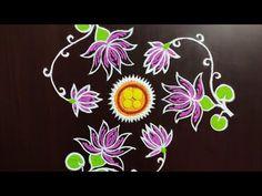 Rangoli Designs, Diwali Drawing, Free Hand Rangoli, Flower Rangoli, Good Morning Happy, Lotus, Tapestry, Cooking, Drawings