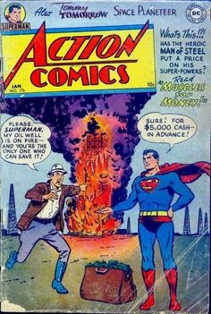 A cover gallery for the comic book Action Comics Old Comic Books, Vintage Comic Books, Comic Book Covers, Comic Book Characters, Vintage Comics, Comic Book Heroes, Vintage Art, Old Superman, Superman Comic