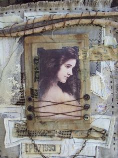 mosshillstudio~artist JoAnnA PIEROTTI~rest in peace~will miss you and your lovely creations Mixed Media Collage, Mixed Media Canvas, Collage Art, Sculpture Textile, Textile Art, Altered Books, Altered Art, Altered Tins, Altered Canvas